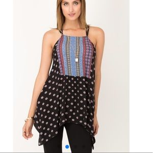 Boutique Asymmetrical Sexy Strappy Back Tunic Top